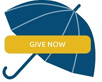 Umbrella icon with give now button