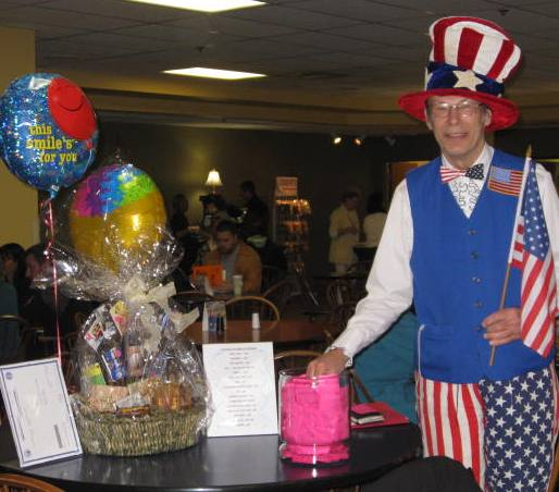 man in red white and blue with raffle