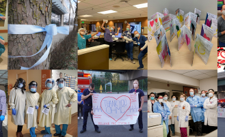 collage of images of healthcare workers wearing PPE