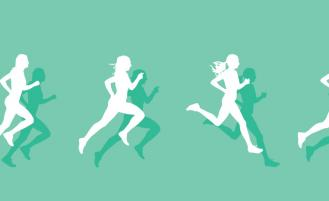 graphic of female runner against green background