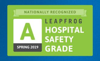 nationally recognized grade a spring 2019 leapfrog hospital safety grade